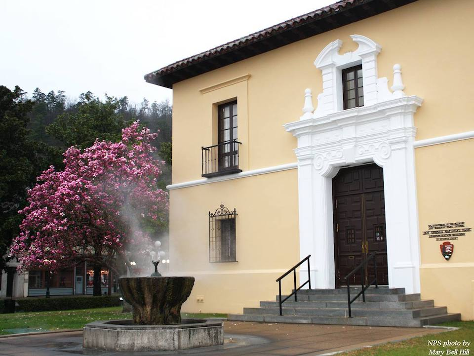Steam rises from a water feature in front of a two-story building with a blossoming tree nearby.