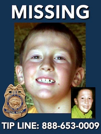 Missing person Samuel Boehlke was last seen October 14, 2006 in Crater Lake National Park. He was 8 years old at the time he went missing. NPS image.