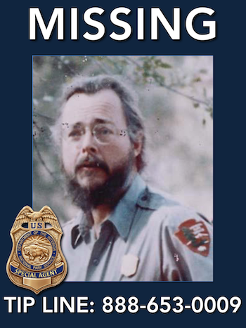 US Park Ranger Paul Fugate went for a hike and vanished without a trace on January 13, 1980. He was wearing his NPS uniform with the official NPS Arrowhead patch and a gold-colored NPS ranger badge.