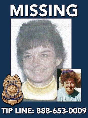 Missing person Ruthanne Ruppert was last seen in Yosemite National Park on August 14, 2000. Tip Line printed across the bottom 888-653-0009. NPS image.