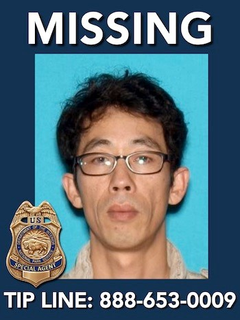 "Missing person Jonghyon Won is 45 years old and has brown eyes and black hair. He is 5'07"" tall and weighs 121 pounds."