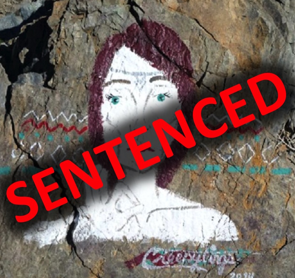 The woman who defaced several NPS sites has been sentenced in federal court. NPS image by the Investigative Services Branch.