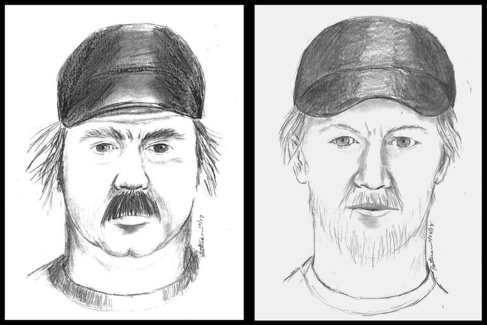 Police sketch artist drawings of two persons of interest.