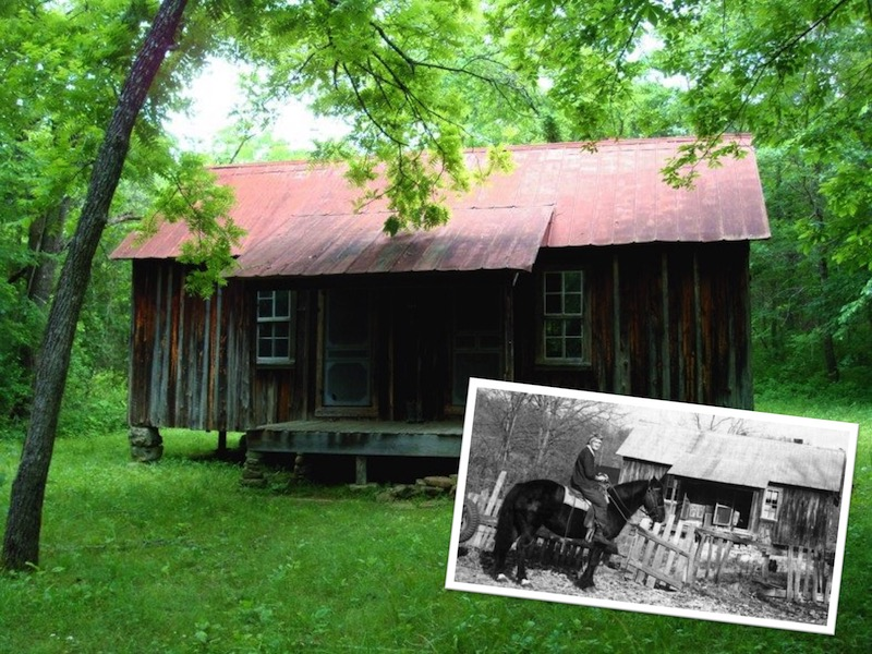 "NPS photo of the historic Susie Nichols Cabin in Ozark National Scenic Riverways. Inset: historic photo of Susie Nichols mounted on her horse ""Ol' Don"" in front of her cabin."