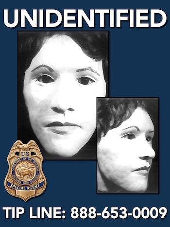 Facial reconstruction images of an unidentified homicide victim. She was a white female age 20-23 with a narrow face and a slight overbite.