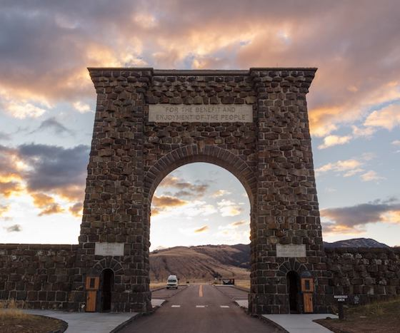 "Roosevelt Arch was constructed in 1903 and serves a reminder to all that pass through it that Yellowstone and all public lands are, ""For the benefit and enjoyment of the people."""