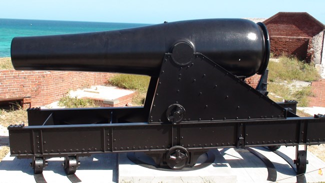 Rodman cannon mounted on a reproduction carriage