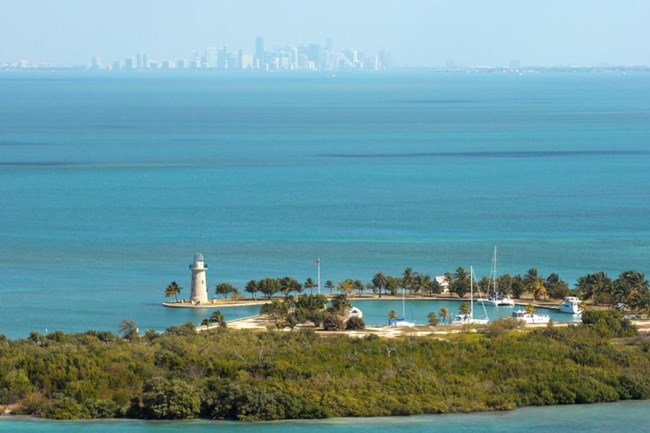 Boca Chita Key in foreground, Miami skyline in the distance, from Biscayne National Park
