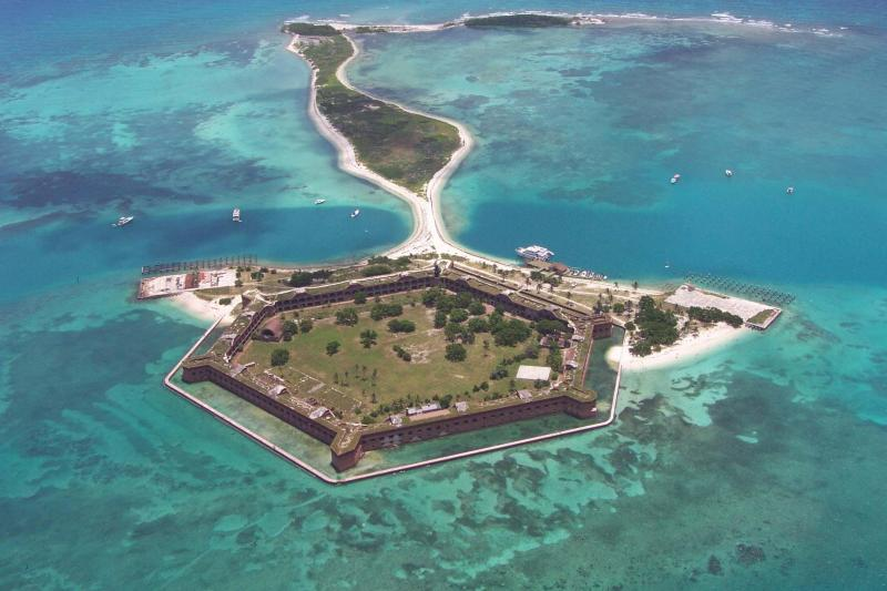 Aerial view looking east at Fort Jefferson, Garden Key, and Bush Key at Dry Tortugas National Park