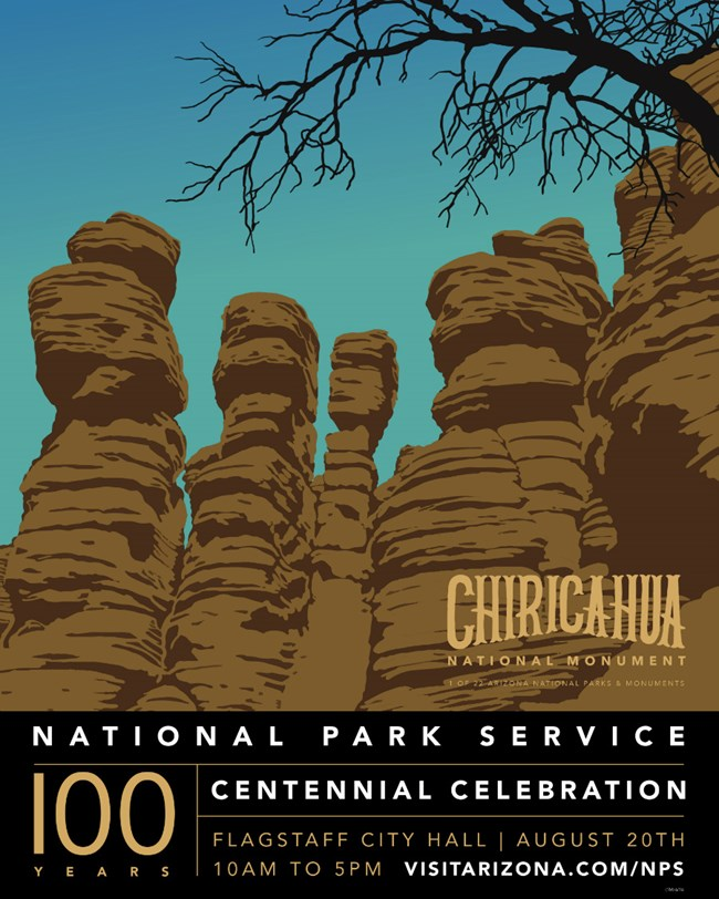 Poster for the NPS Centennial with drawn image of the Chiricahua rock hoodoos