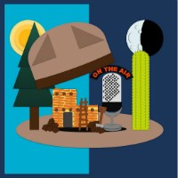 Drawn image of a ranger hat popping apart to reveal a pine tree, cactus, pueblo, and radio microphone.