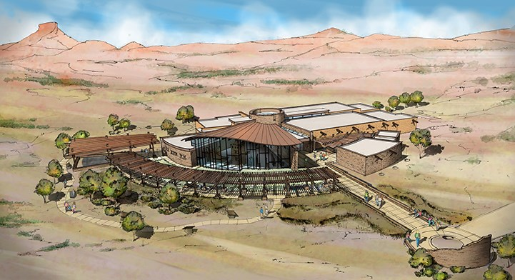 artist rendering of visitor center at Mesa Verde