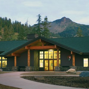 Front entrance of the Kohm Yah-mah-nee Visitor Center at Lassen Volcanic National Park, California.