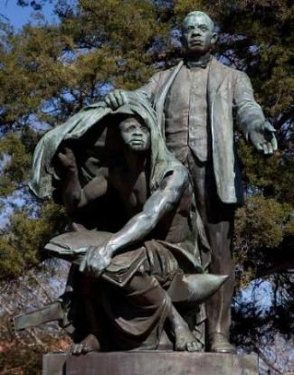 "Statue of Booker T. Washington ""Lifting the Veil of Ignorance"" at Tuskegee University, Alabama"