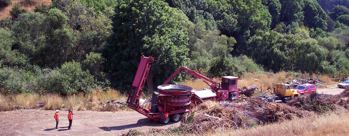 Three people on dirt road stand behind heavy machinery used on a hazardous fuels reduction project.