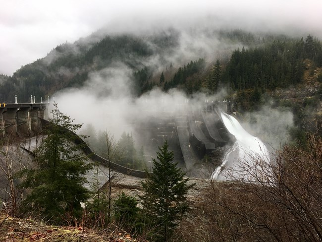 Diablo dam in North Cascades NP discharging whitewater