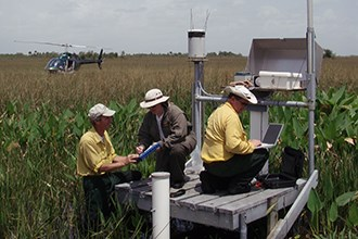 Scientists on a platform conduct studies in a swampy area while a helicopter waits nearby.