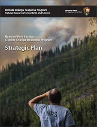 Cover of Strategic Plan: we see a man wearing an NPS t-shirt gazing into the distance at a fire on a mountainside