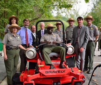 Great Smoky Mountains National Park staff and propane mower