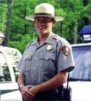 Ranger Eggle on duty in Sleeping Bear Dunes, Michigan