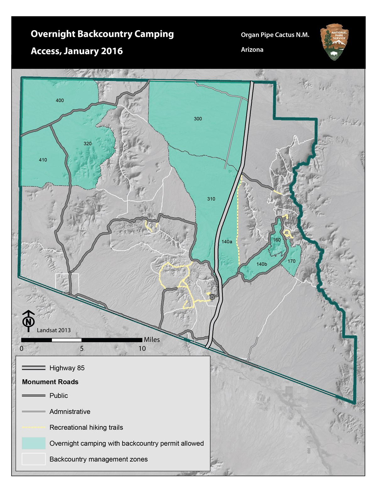 map of organ pipe showing accessible backcountry camping zones