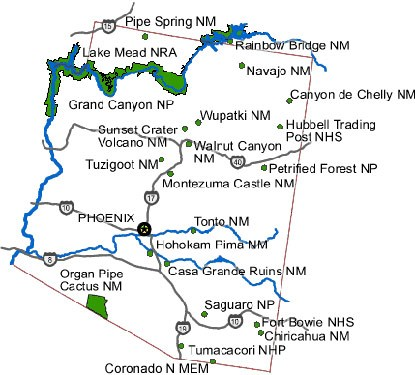 map showing all NPS sites in Arizona