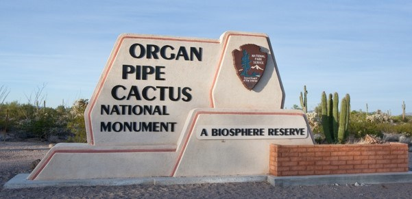 entrance sign to organ pipe cactus national monument
