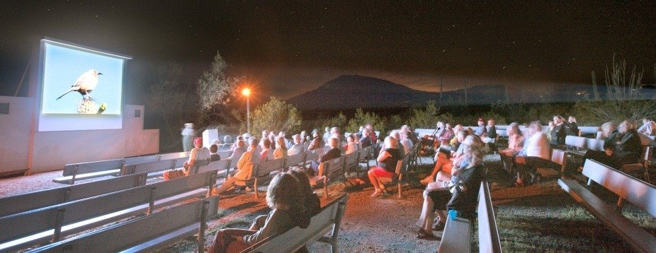 visitors enjoying a ranger led evening program in the Twin Peaks Amphitheater