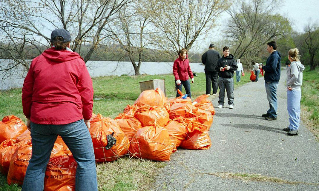 volunteers helping out during river clean-up