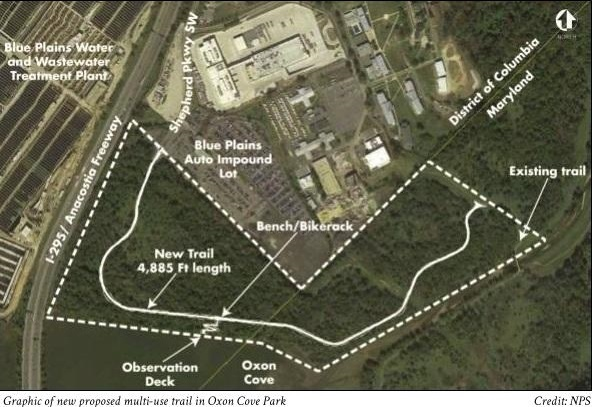 Graphic of new proposed multi-use trail in Oxon Cove Park