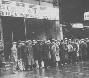 Soup line during the Depression
