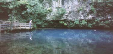 Visitor enjoying the solitude of Blue Spring.