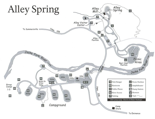 A map showing Alley Spring campground with the following locations; dump station, river access, showers, restrooms, amphitheater, parking, alley mill, alley visitor center, pavilions, picnic area, alley spring, trails, hwy 106, campground loops, river