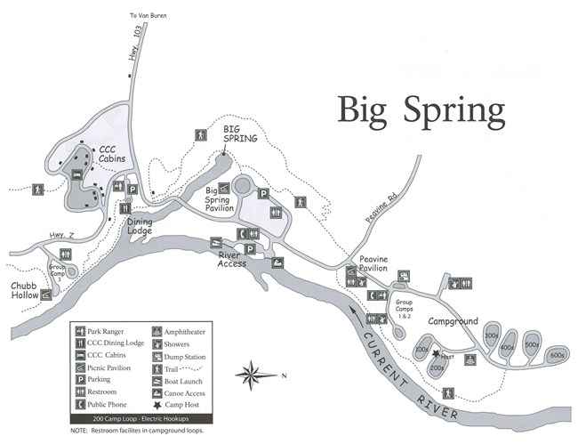 A map showing Big Spring Campground with the following info; campground loops, restroom locations, shower location, host site, river access, dining lodge, pavilion, trails, peavine road, parking areas, dump station, ranger station, amphitheater, ccc cabin