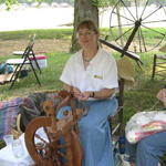 Julie O'Donnell with spinning wheel
