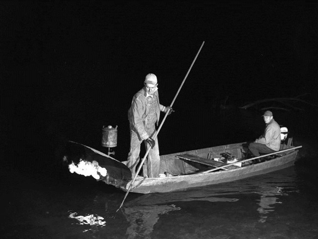 Historic picture of men in boat gigging for fish