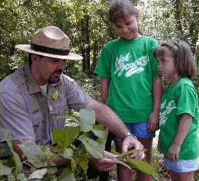Children enjoying a hike with a ranger