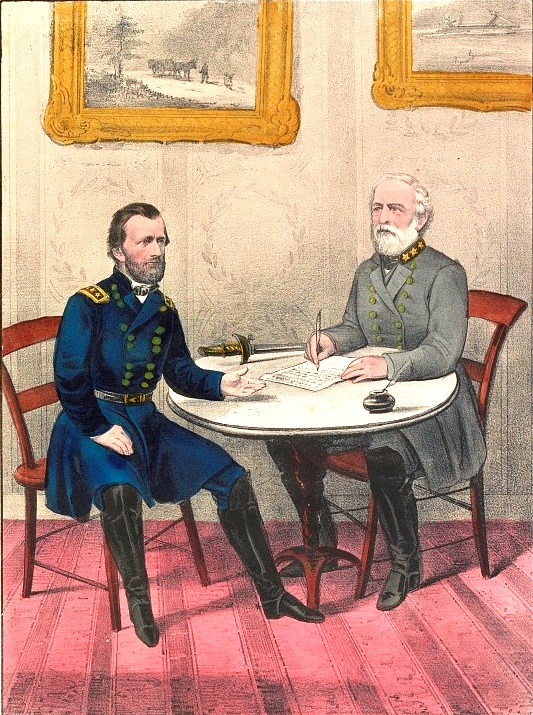Hand-colored lithograph of generals Grant and Lee at Appomattox
