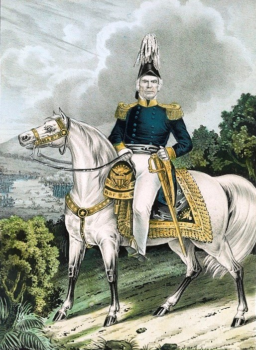 Image of General Zachary Taylor on his white horse