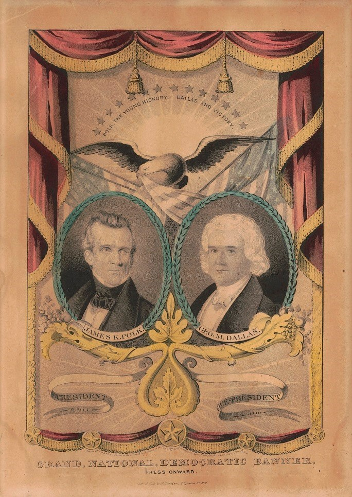 Campaign banner featuring the likeness of James Polka and George Dallas