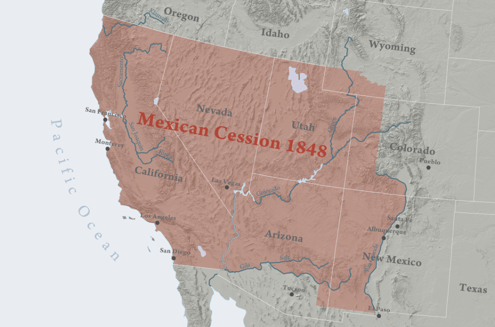 Map depicting the lands ceded by Mexico to the U.S.