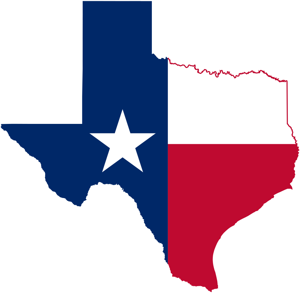 Texas flag in the shape of the State of Texas