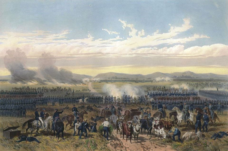 Lithograph depicting the battle of Palo Alto