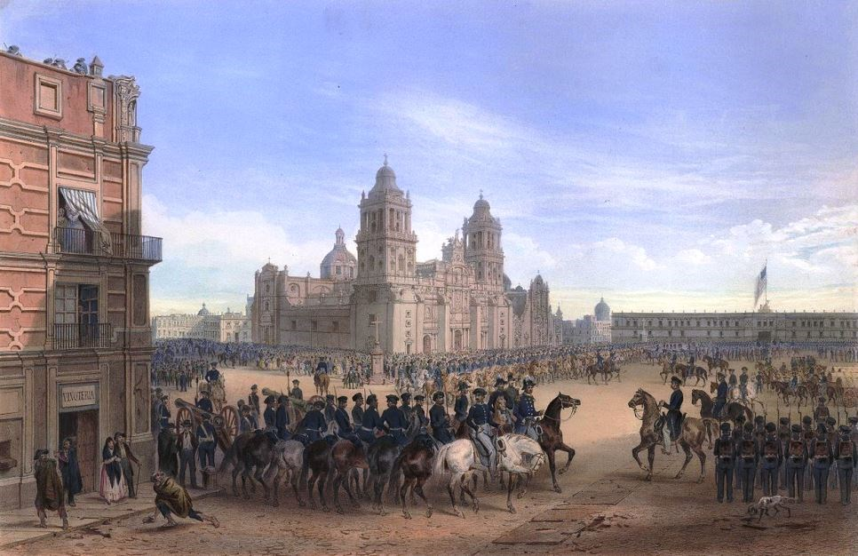 Mexican War era depiction of the Metropolitan Cathedral in Mexico City