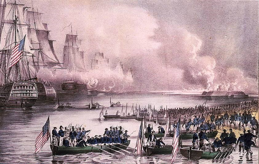 Lithograph depicting the landing of U.S. troops at Veracruz