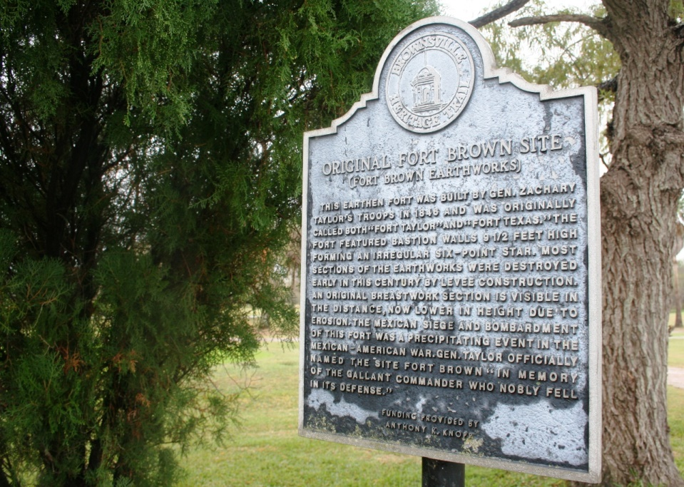 Metal historical marker for the Mexican War era Fort Brown