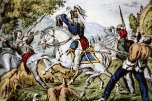 Color lithograph of U.S. dragoons in combat