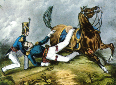 A color depiction of Major Ringgold mortally wounded at Palo Alto.