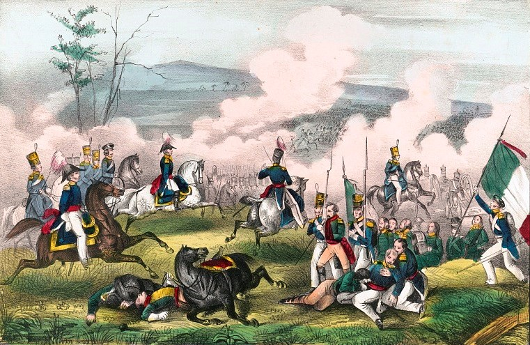 Hand colored lithograph of the battle of Palo Alto