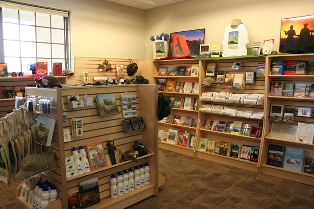 View of park bookstore with various items on display.